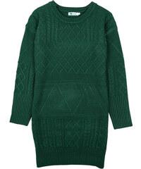 Lesara Kleid mit Strickmuster-Mix - Dunkelgrün - S