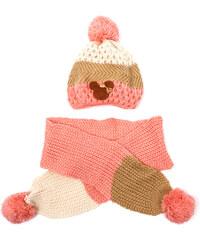 Lesara 2-teiliges Kinder-Set Mütze und Schal dreifarbig - Rosa