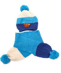 Lesara 2-teiliges Kinder-Set Mütze und Schal dreifarbig - Blau