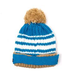 Lesara 2-teiliges Kinder-Set Mütze und Schal gestreift - Blau