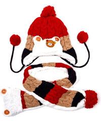 Lesara 2-teiliges Zopfstrick-Muster-Kinder-Set Mütze und Schal - Rot