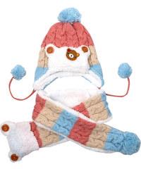 Lesara 2-teiliges Zopfstrick-Muster-Kinder-Set Mütze und Schal - Rosa