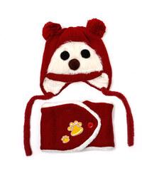 Lesara 2-teiliges Kinder-Set Mütze und Schal Bärchen - Rot