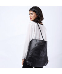 Lesara Shopping-Bag in Leder-Optik - Schwarz