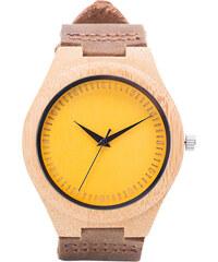 Lesara Bambus-Armbanduhr mit farbigem Zifferblatt - Gelb