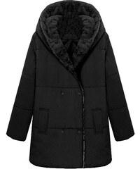 Lesara Winterjacke mit großer Kapuze - Schwarz - XL