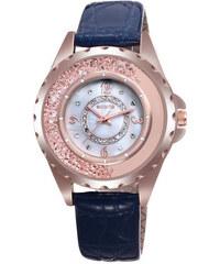 Lesara Armbanduhr mit halbverziertem Strass-Gehäuse - Blau