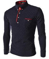 Re-Verse Langarm-Poloshirt mit Punkten - Dunkelblau - L