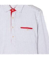 Re-Verse Langarm-Poloshirt mit Punkten - Weiß - L