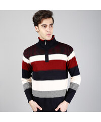 Maritimi Troyer-Pullover gestreift - Rot - S