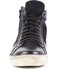 Lesara Mark Hero Leder-High-Top-Sneaker im Used-Look - Schwarz - 40