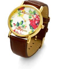 Lesara Armbanduhr mit Blüten-Zifferblatt - Braun