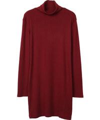 Lesara Langärmeliges Rollkragen-Kleid - Dunkelrot - S