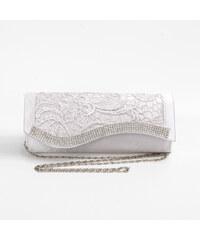 Lesara Clutch mit Spitze & Strass - Silber