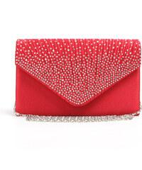 Lesara Envelope-Clutch mit Strass-Verzierung - Rot