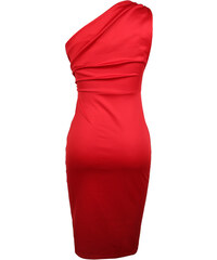 Lesara One-Shoulder-Cocktailkleid - Dunkelrot - XL