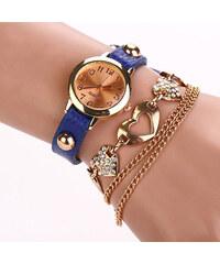 Lesara Wickel-Armbanduhr mit Herz-Elementen - Blau