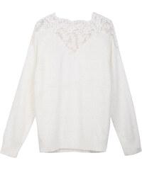 Lesara Chenille-Pullover mit Spitze - Weiß - S
