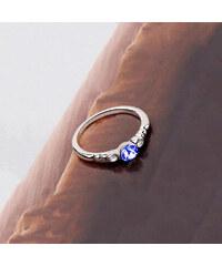 Lesara Ring mit Swarovski Elements und Strass-Steinen - Blau - 52