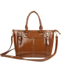 Lesara Handtasche in Glanzleder-Optik - Braun