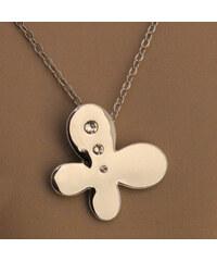 Lesara Weißvergoldete Halskette mit Swarovski Elements - Schmetterling