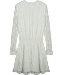 Lesara Langärmeliges Kleid mit Spitze - Creme - M