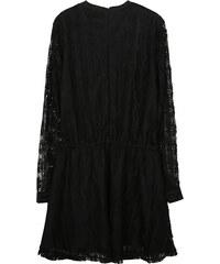 Lesara Langärmeliges Kleid mit Spitze - Schwarz - S