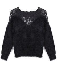 Lesara Chenille-Pullover mit transparenter Spitze - Schwarz - 44