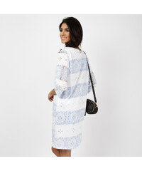 Lesara 3/4-Arm-Kleid im Streifen-Look - Blau - S