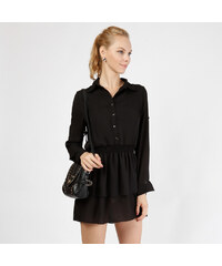 Lesara Blusenkleid mit Knopfleiste - Schwarz - S