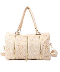 Lesara Handtasche mit Spitze & Reißverschluss-Details - Beige