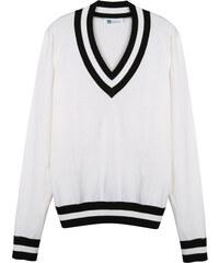 Lesara Pullover mit V-Ausschnitt - Weiß - 48