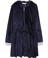 Lesara Tailliertes Samt-Kleid mit Kapuze - Dunkelblau - S