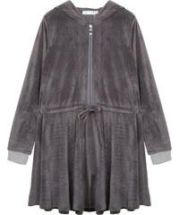 Lesara Tailliertes Samt-Kleid mit Kapuze - Grau - S