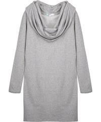 Lesara Sweatkleid mit Wasserfallkragen - Grau - S