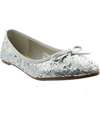 Lesara Ballerina in Glitzer-Optik - Silber - 36