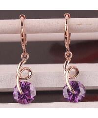 Lesara Spiral-Ohrhänger mit Kristall - Violett