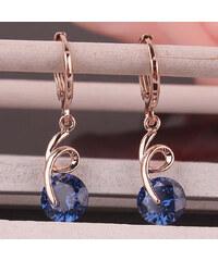 Lesara Spiral-Ohrhänger mit Kristall - Blau