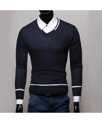 Re-Verse Pullover mit V-Ausschnitt & Streifen-Details - Dunkelblau - S
