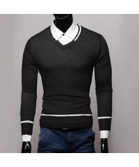 Re-Verse Pullover mit V-Ausschnitt & Streifen-Details - Schwarz - S