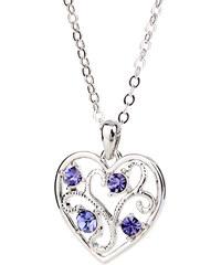 Lesara Halskette mit Herz & Swarovski Elements - Violett