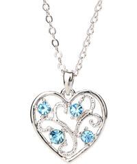 Lesara Halskette mit Herz & Swarovski Elements - Blau