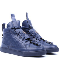 Lesara High-Top-Sneaker mit Stepp-Muster - Blau - 39