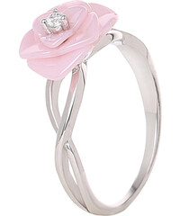 A.Angelini 925er-Silber Ring Kamelienblüte - Pink - 52