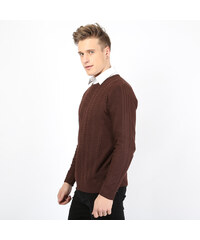 Re-Verse Pullover mit Zopfmuster - Braun - S