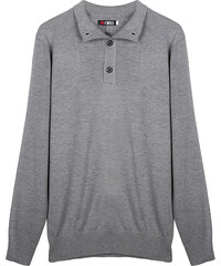Re-Verse Pullover mit kurzer Knopfleiste - Grau - S