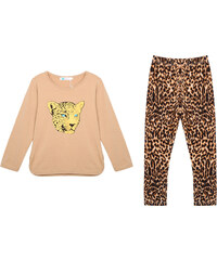 Lesara 2-teiliges Set für Kinder mit Shirt & Hose Leo - Beige - 86