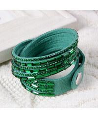 Lesara Wickelarmband mit Kristall-Steinen - Grün
