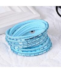 Lesara Wickelarmband mit Kristall-Steinen - Hellblau
