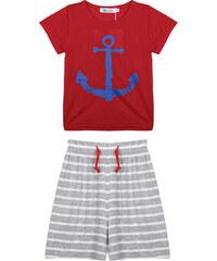 Lesara 2-teiliges Set für Kinder mit Shirt & Hose Marine - Rot - 50